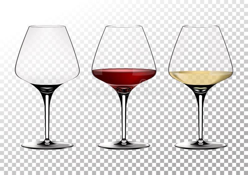 Os vidros de vinho transparentes ajustados do vetor esvaziam, com branco e vinho tinto Ilustração do vetor no estilo photorealist ilustração do vetor