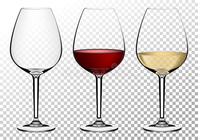 Os vidros de vinho transparentes ajustados do vetor esvaziam, com branco e vinho tinto Ilustração do vetor no estilo photorealist ilustração stock