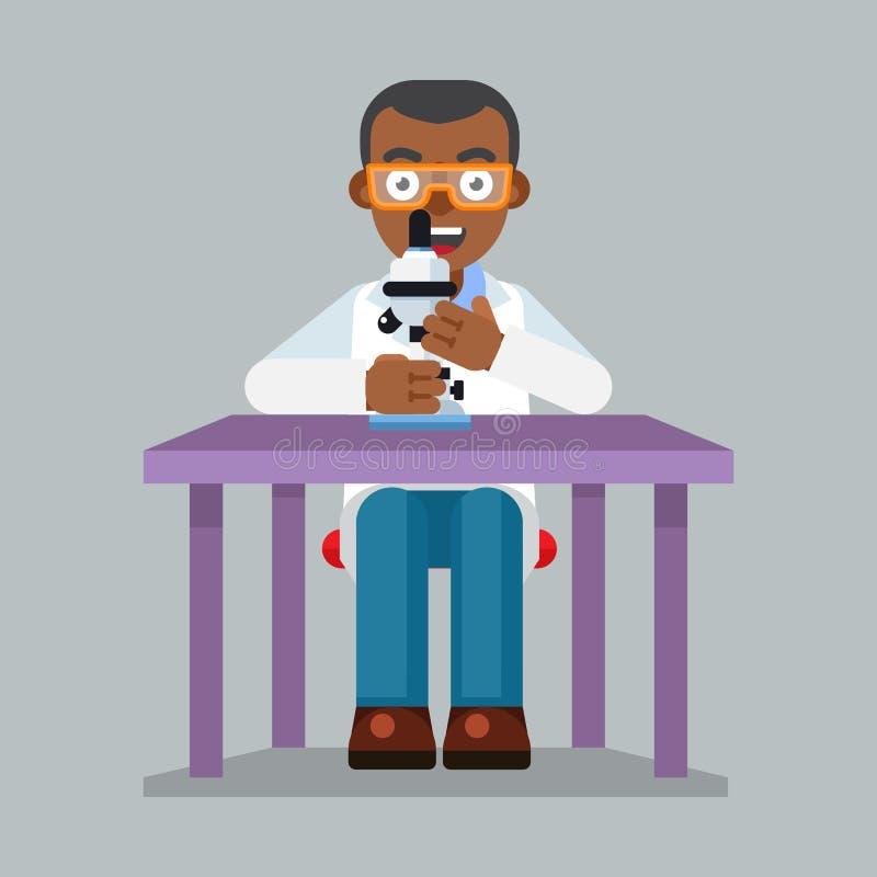 Download Os Vidros E O Laboratório Vestindo Do Caráter Do Cientista Revestem Com O Microscópio Ilustração Stock - Ilustração de químico, profissional: 65575301