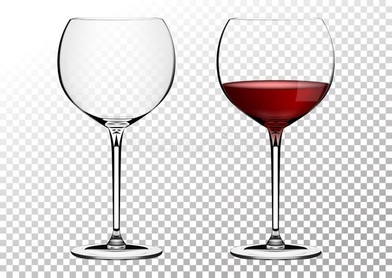 Os vidros transparentes ajustados do bordo do vinho do vetor esvaziam, com vinho tinto Ilustração do vetor no estilo photorealist ilustração do vetor