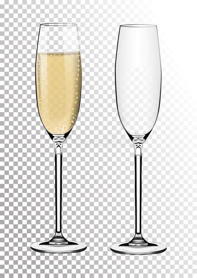 Os vidros transparentes ajustados do champanhe do vetor esvaziam, com vinho espumante Ilustração do vetor no estilo photorealisti ilustração royalty free