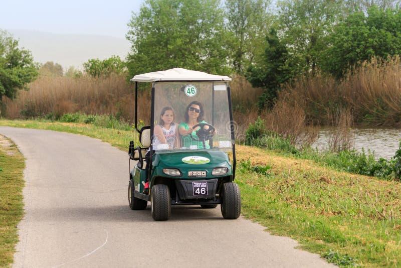 Os visitantes conduzem ao longo de um trajeto do veículo elétrico na reserva natural do lago Hula perto do pagamento do ala do `  fotos de stock