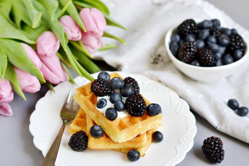 Os waffles belgas caseiros com as bagas do molho de creme, copo com bebida do cappuccino florescem tulipas cor-de-rosa, Gray Back fotos de stock