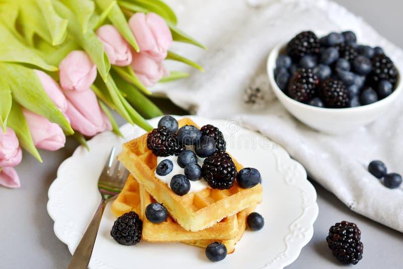 Os waffles belgas caseiros com as bagas do molho de creme, copo com bebida do cappuccino florescem tulipas cor-de-rosa, Gray Back imagem de stock royalty free