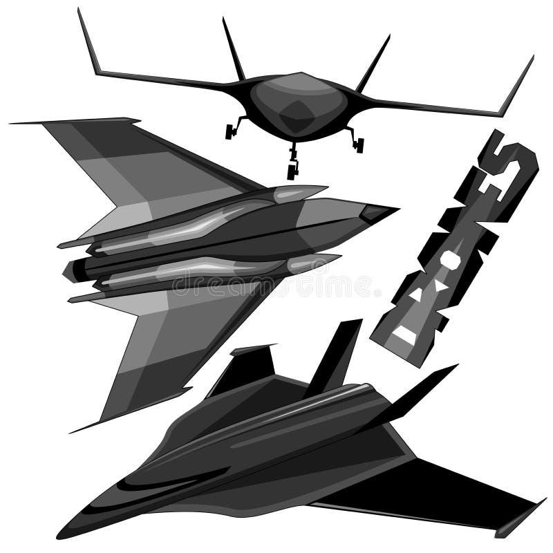 Os zangões desvirilizaram veículos aéreos ilustração do vetor