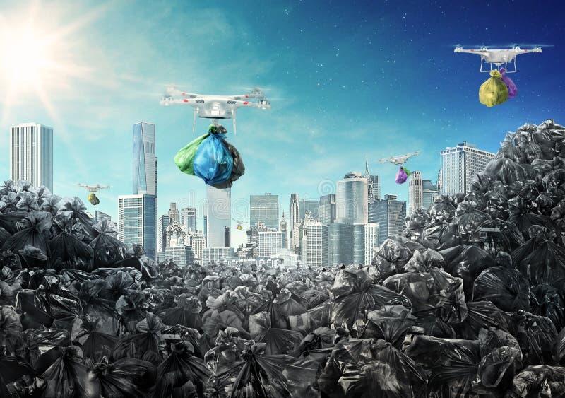 Os zangões levam sacos de lixo da cidade à descarga ilustração royalty free