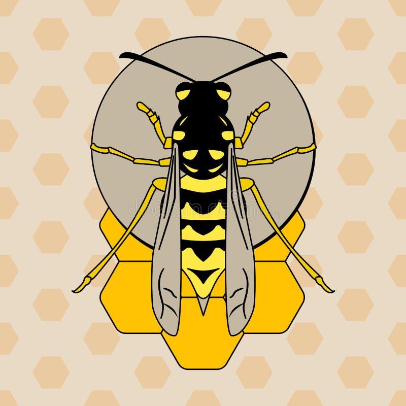 Osa na honeycombs ilustracji