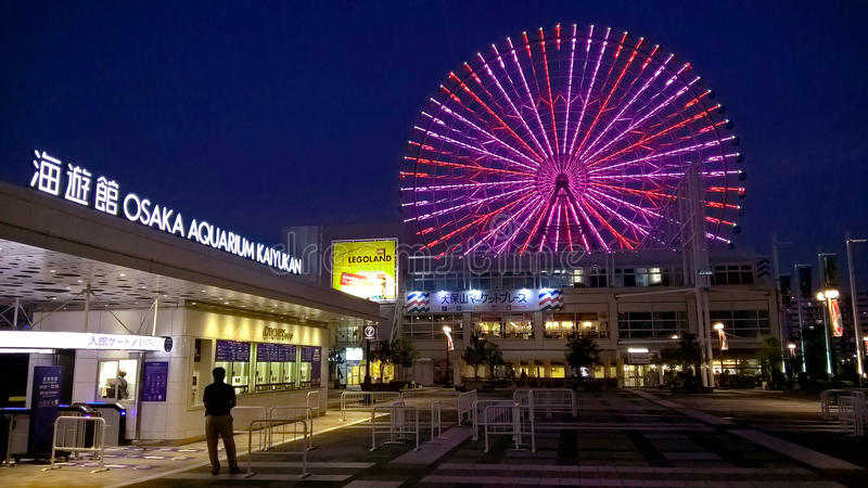 Osaka Aquarium Kaiyukan et Tempozan Ferris Wheel, Japon photographie stock libre de droits