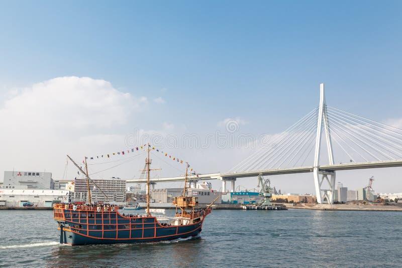Osaka Bay Cruise Santa Maria é uma das viagens as mais emocionantes Parte para uma excursão completa de Osaka Aquarium Kaiyukan e fotografia de stock
