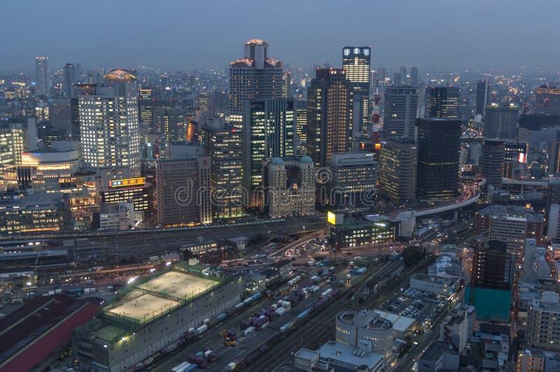 Osaka Blue Hour royalty-vrije stock afbeelding