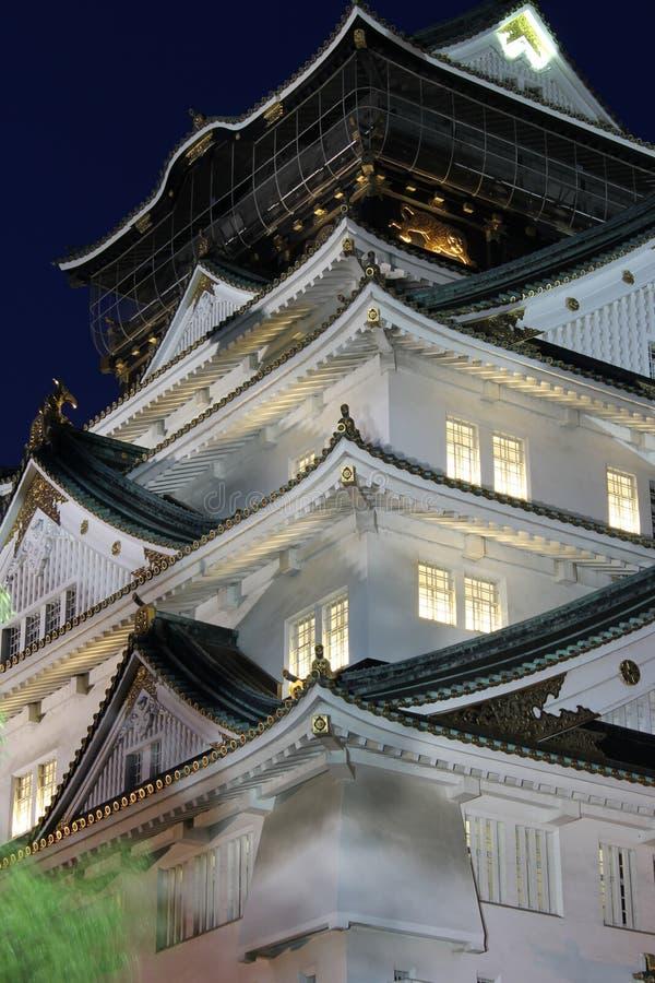 Osaka Castle bij nacht, Japan royalty-vrije stock afbeeldingen