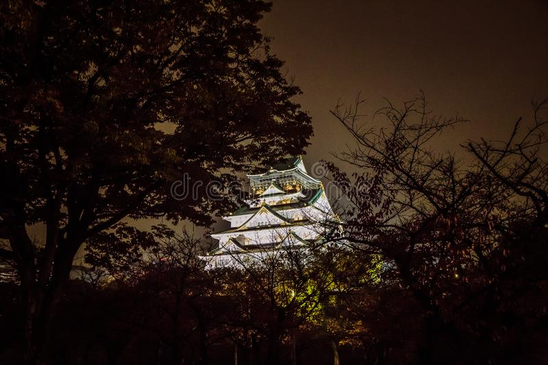 Osaka Castle at dark night, Osaka, Japan stock image