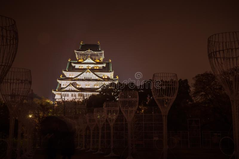 Osaka Castle at dark night, Osaka, Japan royalty free stock images