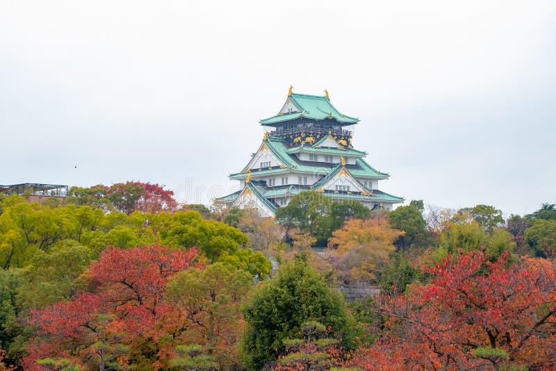 Osaka Castle in de Herfst in Osaka, Japan royalty-vrije stock foto's