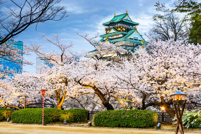 Osaka Castle in de Lente stock fotografie