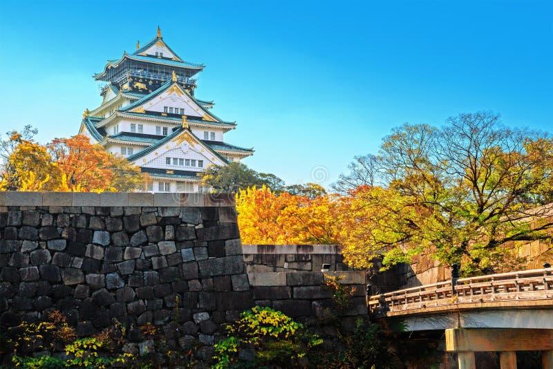 Osaka Castle in de stad van Osaka stock afbeelding