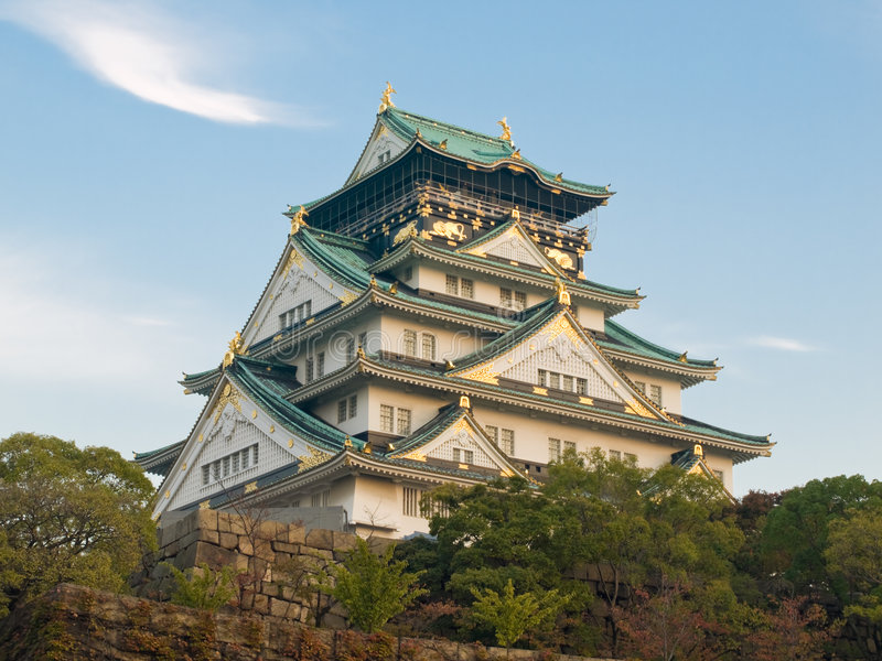 Osaka Castle at dusk royalty free stock images