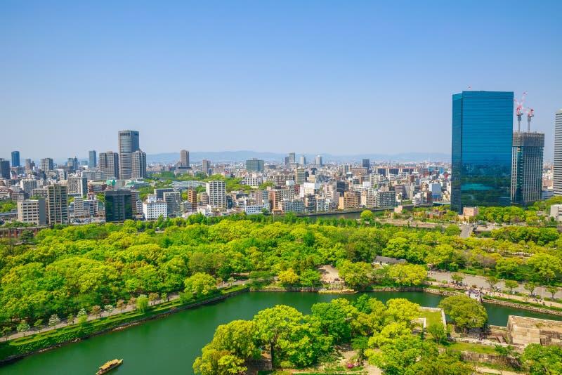 Osaka Castle-horizon stock foto's