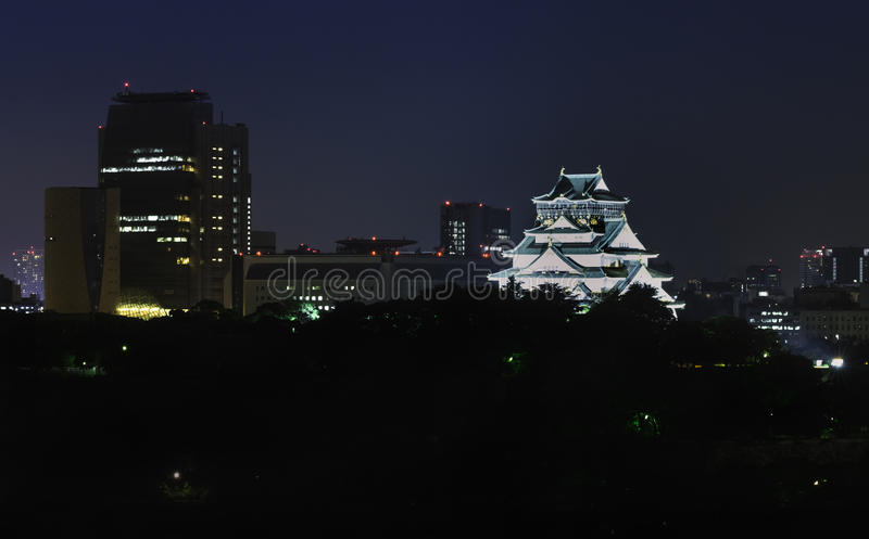 Osaka Castle la nuit photo libre de droits