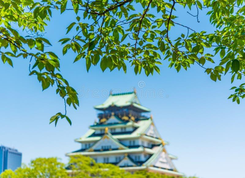 Osaka Castle met Onduidelijk beeldeffect stock afbeelding