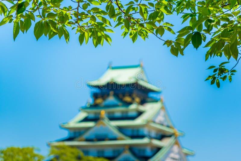 Osaka Castle met Onduidelijk beeldeffect royalty-vrije stock foto