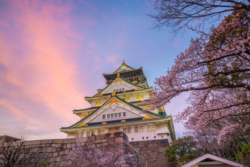 Osaka Castle met volledige bloei van Sakura royalty-vrije stock foto's