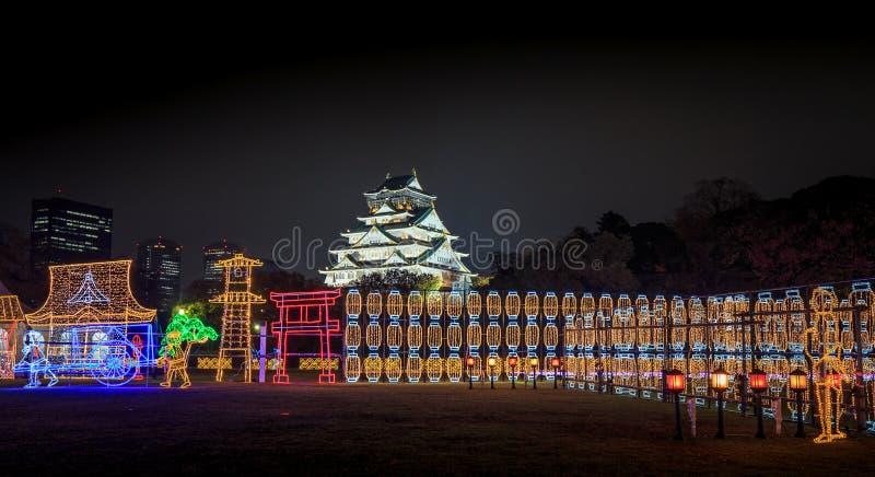 Osaka Castle nattbelysning, Osaka, Japan arkivfoto