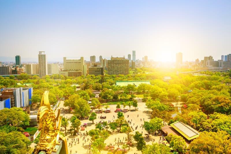 Osaka Castle Park-cityscape royalty-vrije stock afbeelding