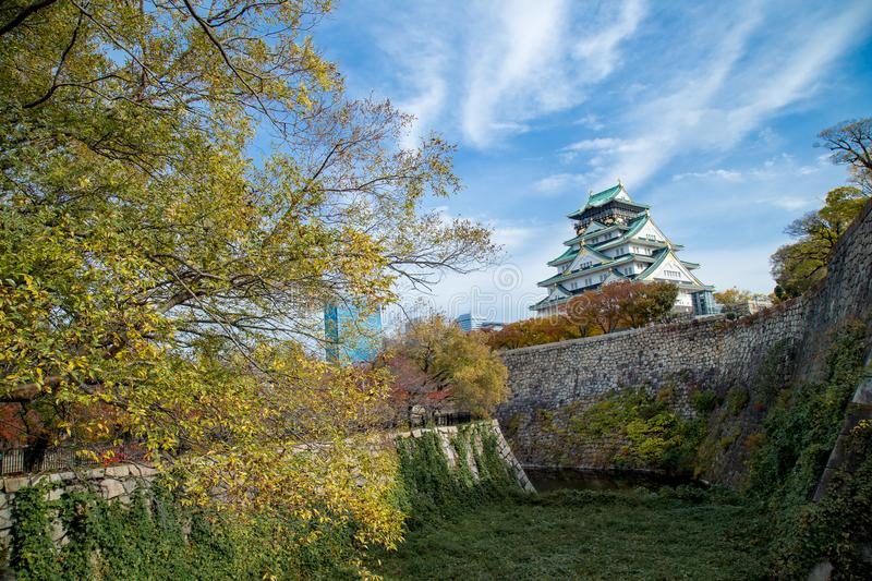 Osaka castle tower in japan, in Autumn stock photos