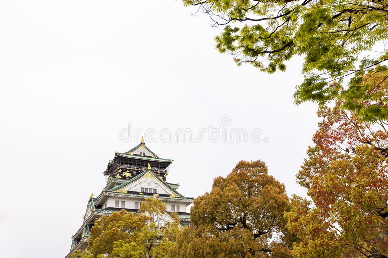 Osaka Castle with white sky. The most biggest castle in Osaka stock images