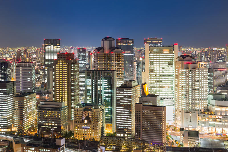 Osaka central business downtown building night view. Japan stock image