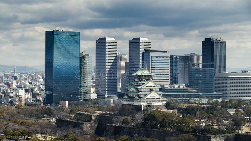 Osaka City, see from Osake museum. When I visit Osaka museum, I saw the whole Osaka City through the window, so i took this picture royalty free stock images