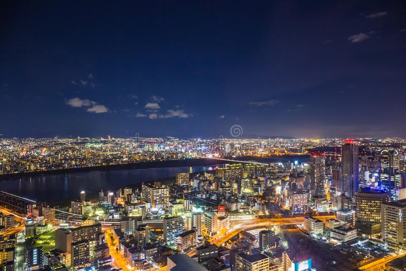 Osaka Cityscape royaltyfri fotografi
