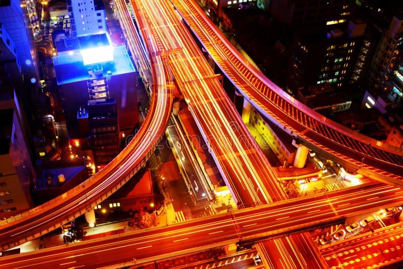 Osaka Expressway och för huvudväg bästa sikt, Japan royaltyfri foto