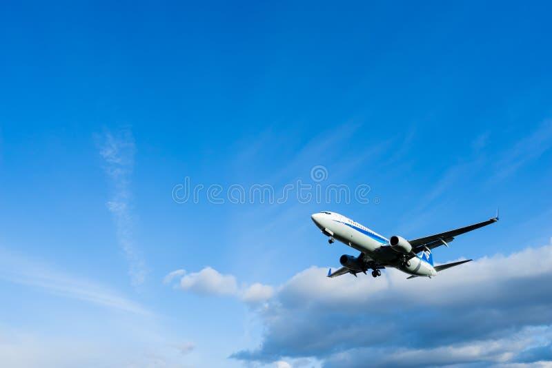Osaka, Japão - 22 de janeiro de 2016 - All Nippon Airways ANA Boeing 737 que aterra no aeroporto de Itami, Osaka, Japão foto de stock