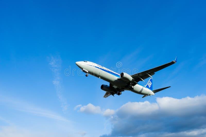 Osaka, Japão - 22 de janeiro de 2016 - All Nippon Airways ANA Boeing 737 que aterra no aeroporto de Itami, Osaka, Japão fotos de stock