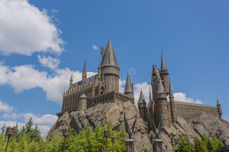 OSAKA, JAPÃO - 2 de junho de 2016 Foto do castelo de Hogwarts em USJ foto de stock royalty free