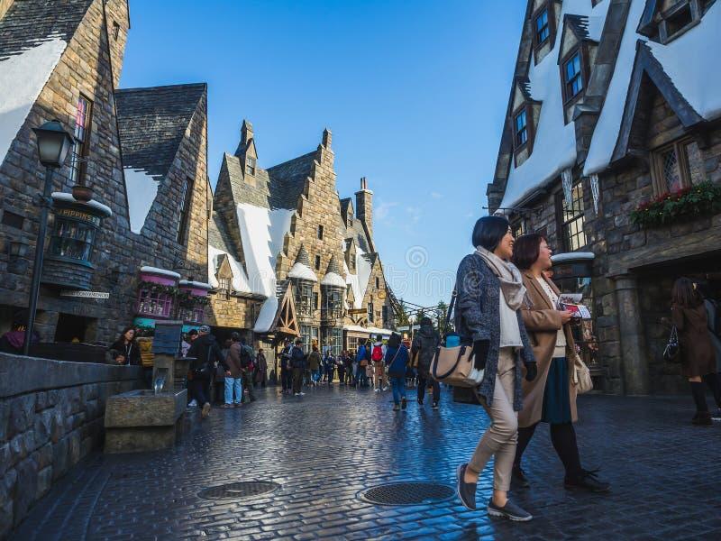 Osaka, Japão - 19 de novembro de 2017: O mundo de Wizarding de Harry P imagens de stock