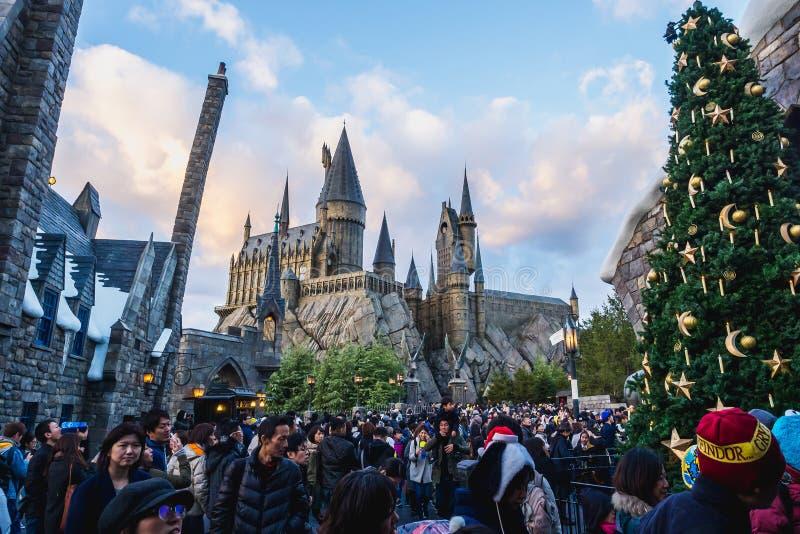Osaka, Japão - 19 de novembro de 2017: O mundo de Wizarding de Harry P fotos de stock royalty free
