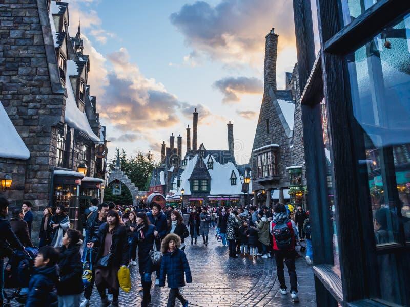 Osaka, Japão - 19 de novembro de 2017: O mundo de Wizarding de Harry P imagem de stock royalty free