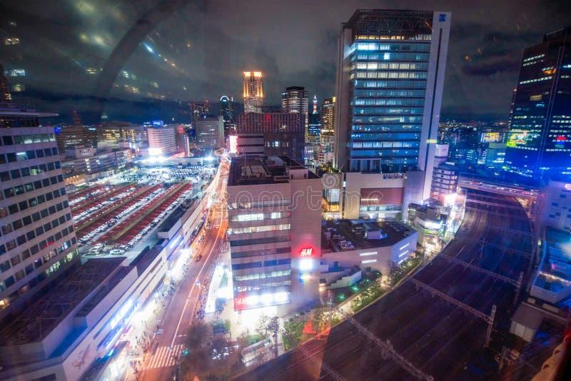 Osaka, Japão - 20 de novembro de 2017: Opinião da paisagem da cidade de Osaka de imagens de stock royalty free