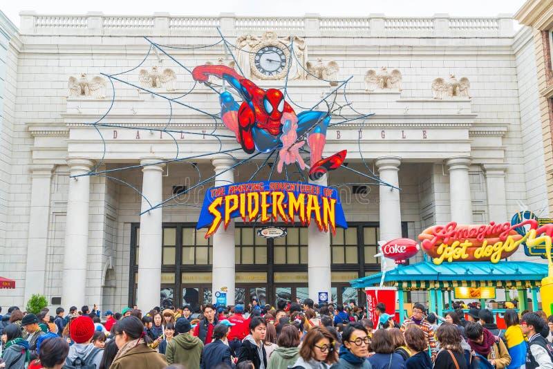 Osaka, Japón - 21 de noviembre de 2016: Paseo del hombre araña en el globo universal o imagen de archivo libre de regalías