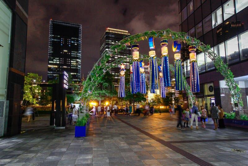 Osaka japan Świątynia w Osaka w wiośnie, kwitnie sezon, czereśniowi okwitnięcia Dekoracja gwiazdowy festiwal, dzwoniąca «Tanabata obraz royalty free