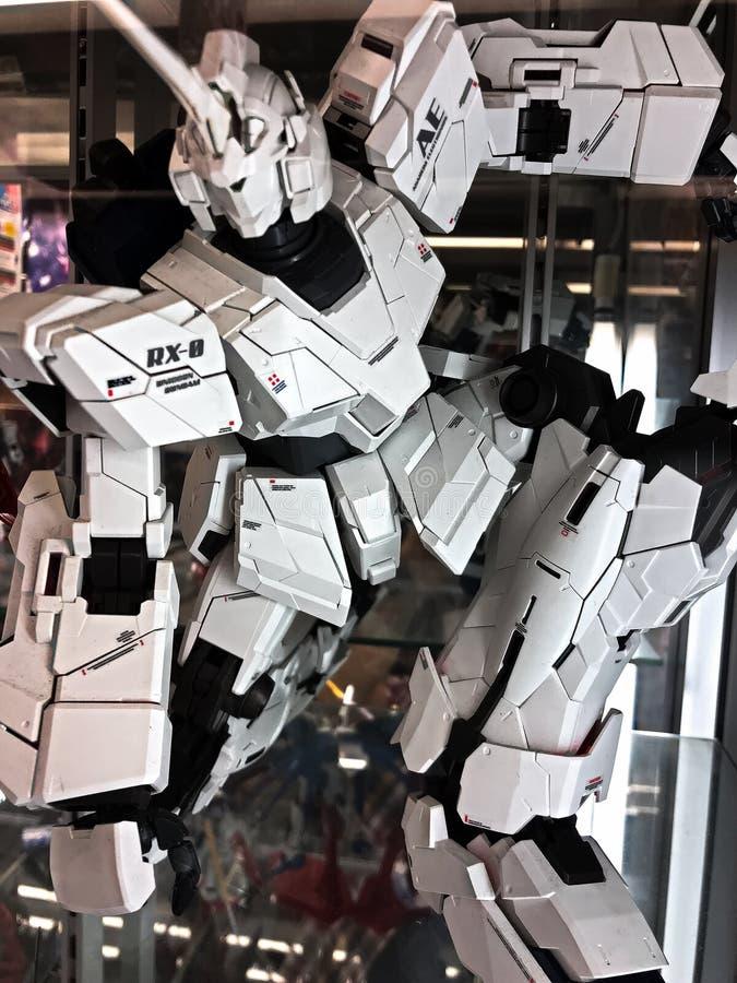 RX-0 Unicorn GUNDAM plastic model. Osaka,Japan - Apr 13, 2019: Focused of royalty free stock photography