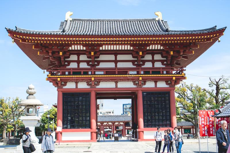 Shitennoji Temple is Japan`s oldest official temple.The first Buddhist temple to receive national royalty free stock photos