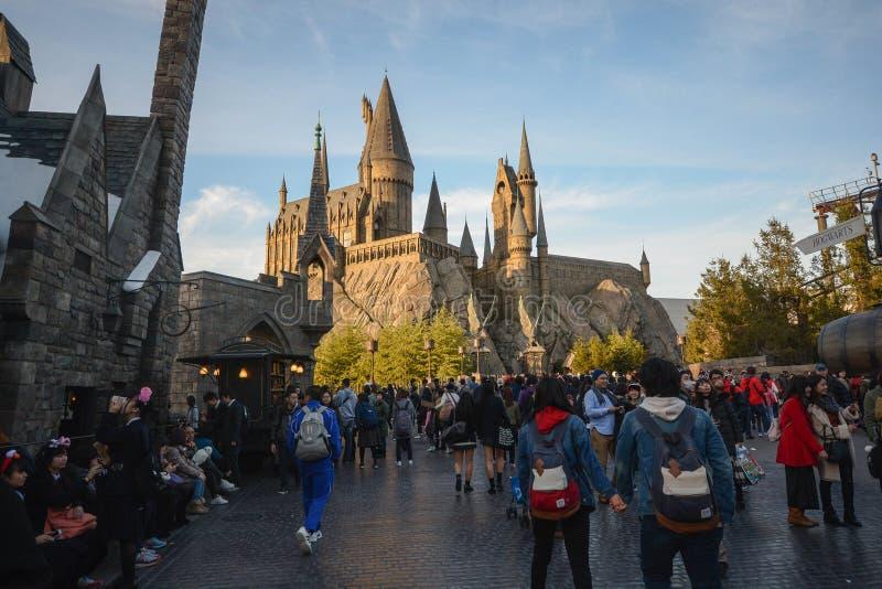 OSAKA, JAPAN 2,2016 DECEMBER: De Wizarding-Wereld van Harry Pott stock foto's