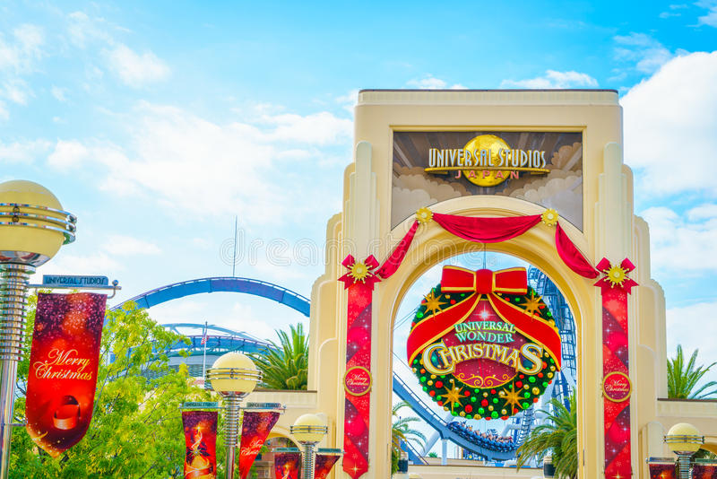 OSAKA, JAPAN - December 1, 2015: Universal Studios Japan (USJ). According to 2014 Theme Index Global Attraction Attendance Report, USJ is ranked fifth among stock photos