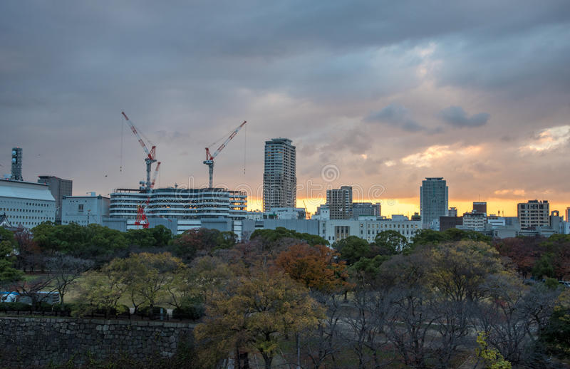 Osaka,Japan-December 3, 2015 : view of buildings before sun set. In Osaka, Japan stock image
