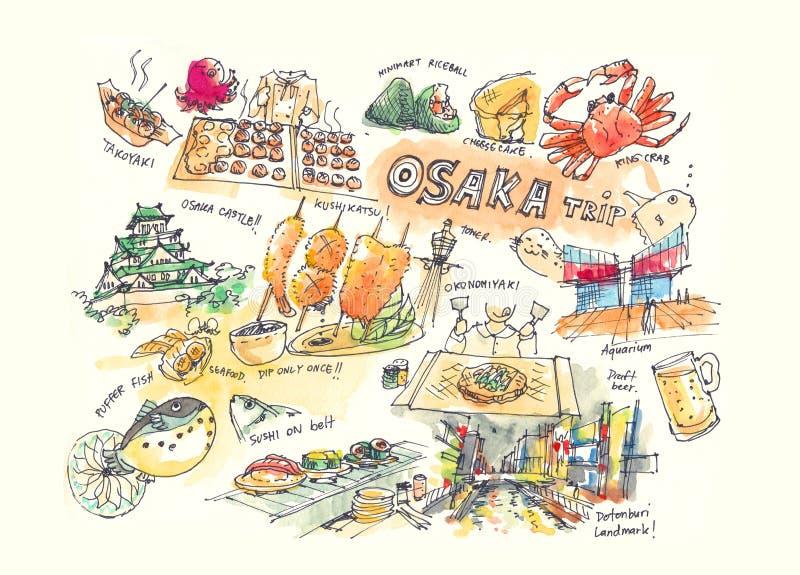 Osaka Japan drawing illustration landmark and must do items. Osaka Japan drawing illustration of landmark and must do items royalty free illustration