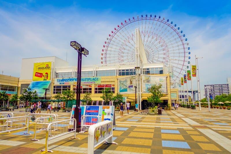 OSAKA, JAPAN - JULI 18, 2017: Sluit omhoog kadervertrouwen van Tempozan Ferris Wheel in Osaka, Japan Het wordt gevestigd in Tempo royalty-vrije stock foto's
